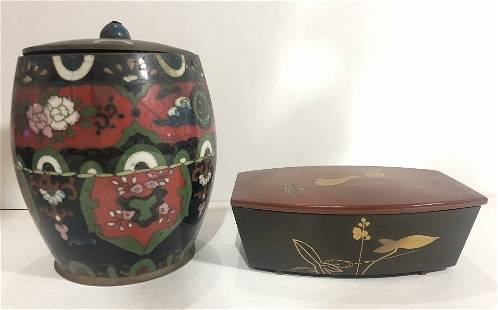 Japanese lacquer box and cloisonne jar