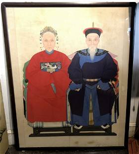 Chinese ancestor portrait couple c1900