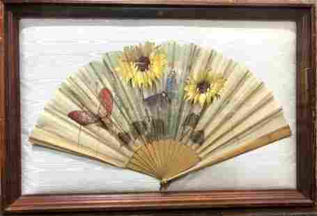 Large painted fan in glass box