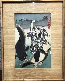 Japanese woodblock samurai with fishc1900