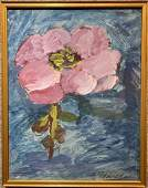 Gouache of pink flower by Yakovlev