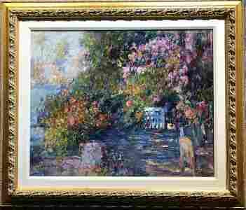 Painting of garden by Xiaoen Wang, 20th century