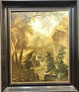 Large landscape ptg Westpoint signed AR '83