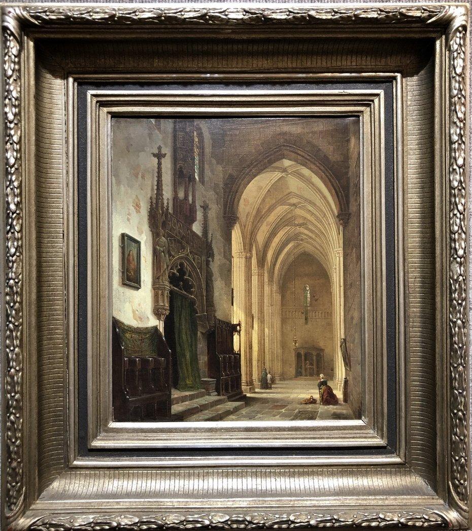 Painting of Lorenz Church  by Franz Stegmann,c.1872