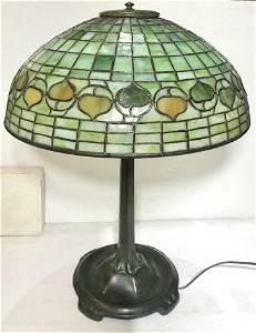 Tiffany Studios favrile glass & bronze acorn lamp,c1910