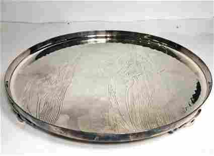 Japanese silver plated tray circa 1900