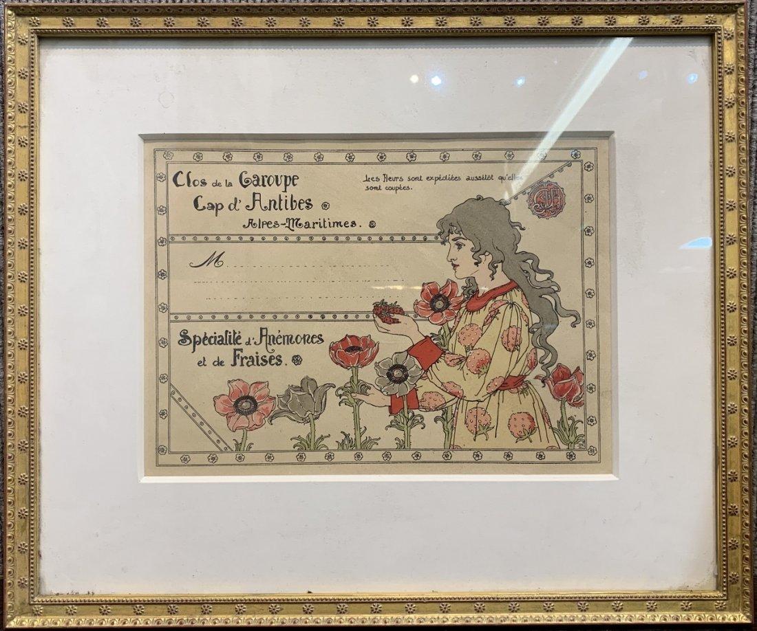 Art Nouveau lithograph, Strawberries,c.1900