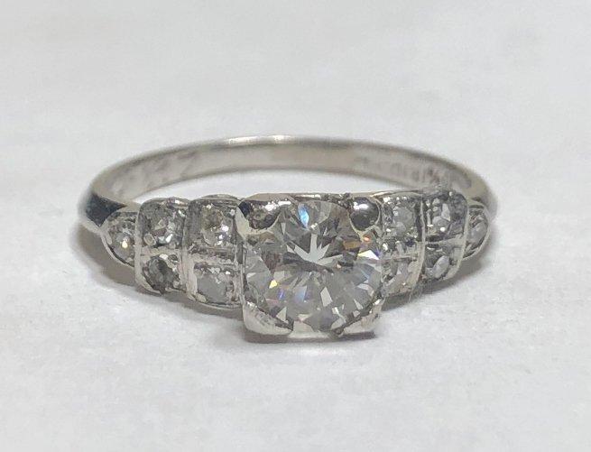 Plat diamond engagment ring, .52ct GIA,c.1925
