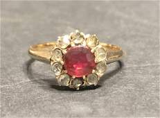 14k ruby diamond ring,c.1900 1.6 dwt