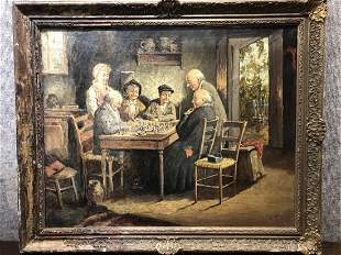 Painting of chess game at table, c.1910/1930