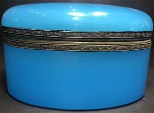 Blue opaline glass oval box,c.1920