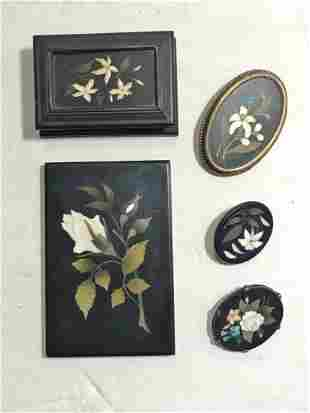 Five pietra dura jewelry items