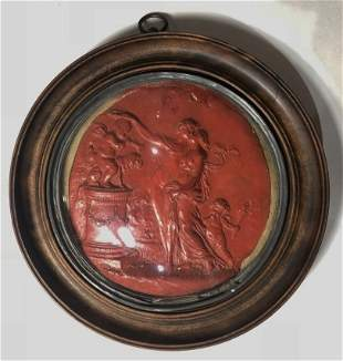 Neoclassical wax carving, circular frame, cracked glass