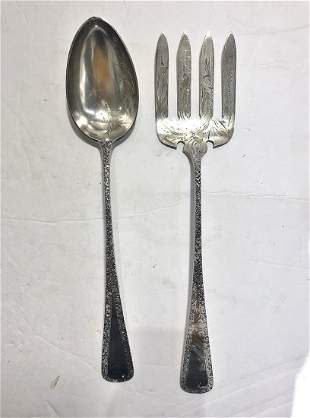 A pair of large BBB sterling serving pieces,c.1900
