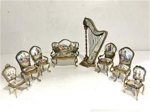 Eight enamel miniature furniture items,Sam