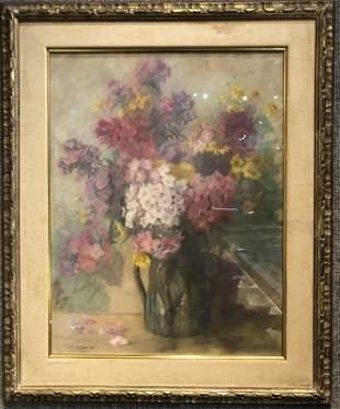 Gouache of flowers by Maria Palmie, Munich,c.1950