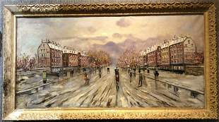 Large painting of Paris street by Rosselli,c.1930