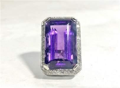 Black Starr & Frost plat, diamond amethyst ring,c.1960