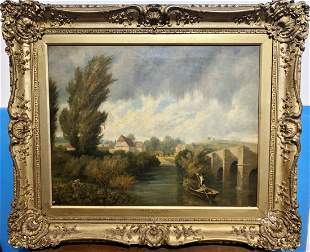 Large landscape painting by Henry Dawson,19th