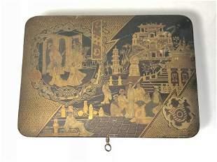 Japanese box with key, c.1900