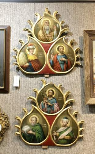 Pair of Russian icons on wood, c.1880