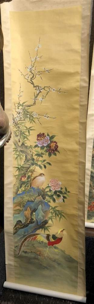 Chinese painted modern scroll of birds, flowers,c.1980