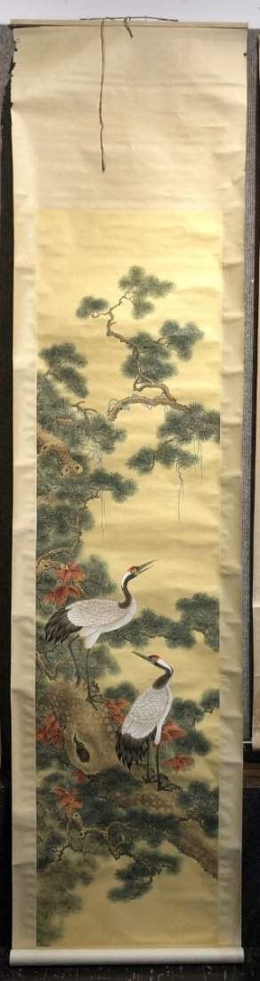 Chinese painted scroll, storks.Circa 1980.