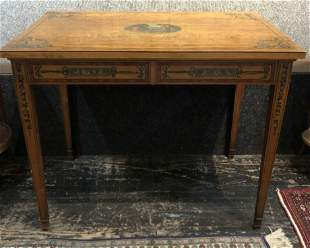 Painted wood desk, Neoclassical style, 19thc