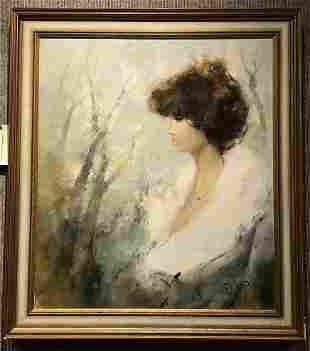 Painting of a woman in profile, by P.Morini