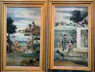 Pair of Chinese paintings on wood 18th/19th century