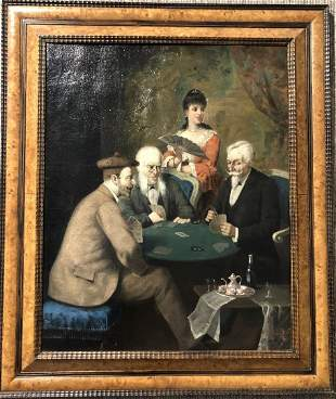 Painting of card players, c.1900.Signature illegible