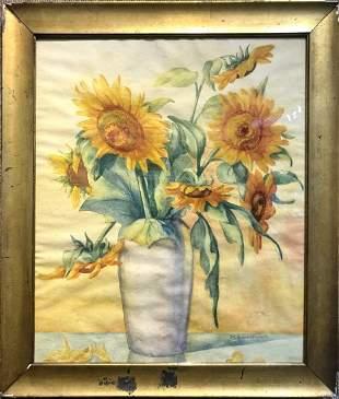 Gouache of sunflowers by Maria Swartwout de Hoog