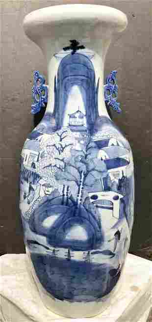 Chinese blue and white tall vase,c1900