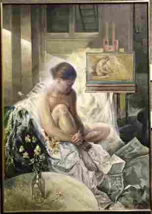 Xavier Gonzalez painting of a nude model