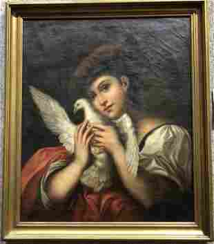 19th century Painting of woman with a dove