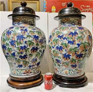 Pair of Chinese vases- Wanli Wucai six character mark