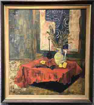 Painting  of interior still life by Jean Duncan,c.1960