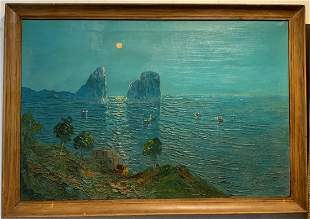 Painting of moonlit bay, c.1940, signed illegibly
