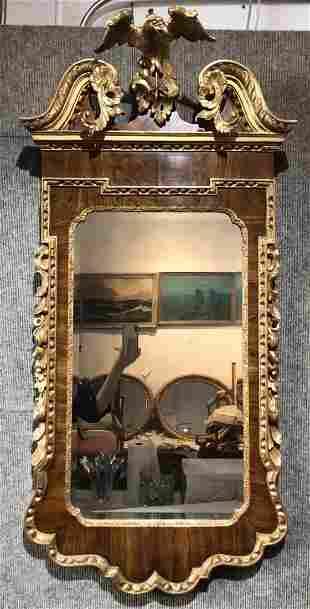 Gilt wood mirror with eagle, c.1940/1965
