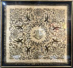 Large Turkish silk embroidery, framed,c.1900