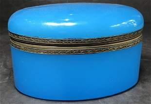 Blue opaline glass box,Sams