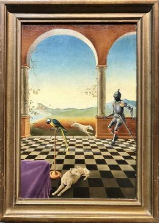 Surreal ptg of a knight two dogs and a parrot,c.1950
