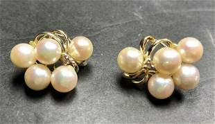 18k pearl and diamond earrings, 5.7 dwts