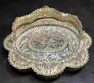 Silver filigree basket, 12.4 t. oz