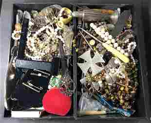 Two trays of jewelry, costume and silver,Sams