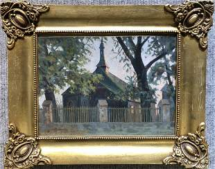 Painting of a church by Teodor Ziomek