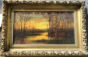 Painting of a marsh by William F Slee, c.1920