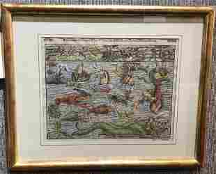 16th century print of monsters by Sebastien Munster