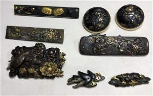 Eight Japanese mixed metal items