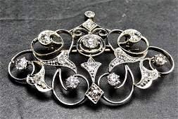 14k diamond Edwardian brooch 48 dwts